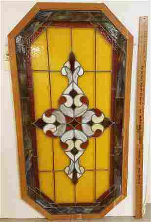 "OCTAGONAL FRAMED LEADED GLASS PANEL 50.25"" X 26"""