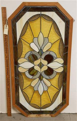 "OCTAGONAL FRAMED LEADED GLASS PANEL 50""H X 26"""