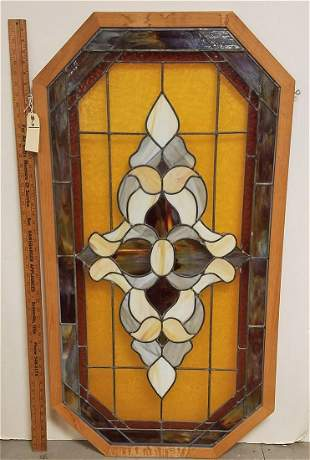 "OCTAGONAL FRAMED LEADED GLASS PANEL 48.75""H X 26"""