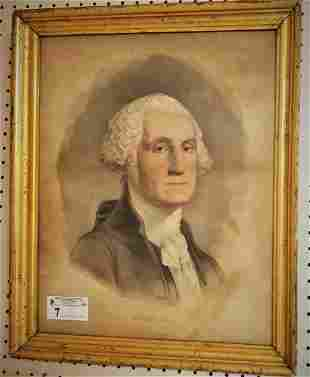 FRAMED CURRIER & IVES COLOR LITHO OF GEORGE WASHINGTON