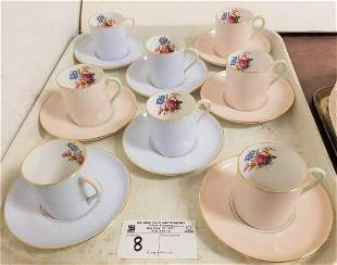 TRAY 8 COPELAND GROSVENOR CHINA DEMITASSE CUPS AND