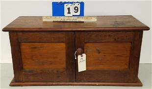 19TH CENTURY CHESTNUT 2 DOOR CABINET W/PIGEON HOLE