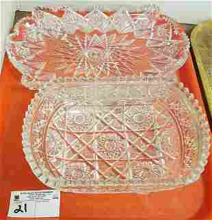 "TRAY CUT GLASS BOWLS 15.5""W X 8.5""D X 1.5""H + 3""H X"