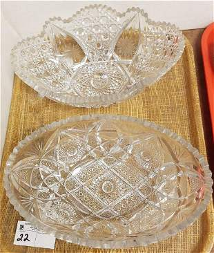 "TRAY CUT GLASS 2 BOWLS 4""H X 11.25""W X 7.5""D + 4""H X"