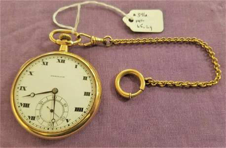 14K HAMILTON OPEN FACE POCKET WATCH-WORKING, 65.2g