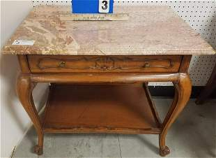 """MAHOG. MARBLE TOP 1 DRAWER STAND, 25.5""""H X 29""""W X 21""""D"""