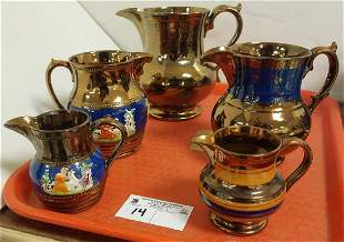 TRAY 5PC. LUSTER PITCHERS + CREAMERS