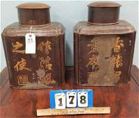 PR. LATE 19th c. PEWTER CHINESE TEA CADDIES