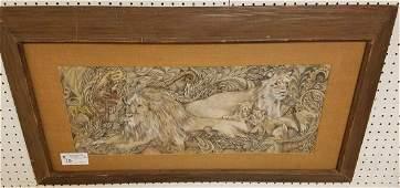 FRAMED PEN  INK WC PRIDE OF LIONS SGND H