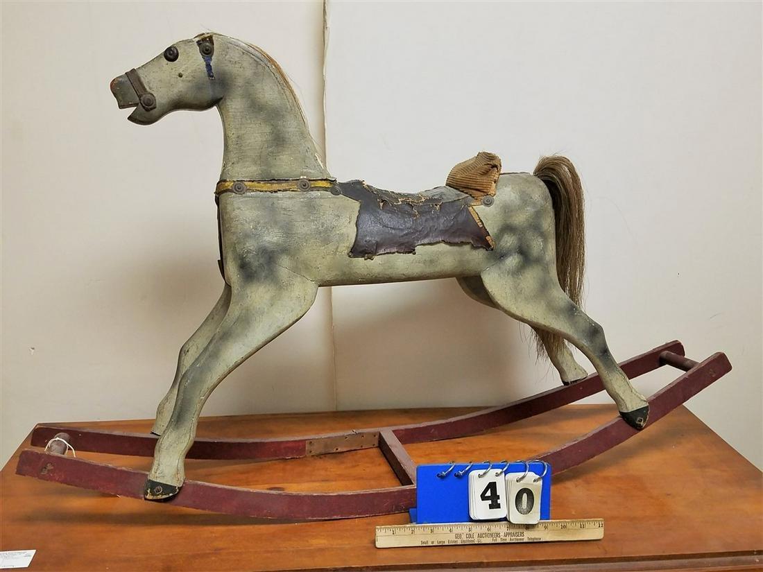 "19th c. WOODEN ROCKING HORSE, 26""H X 42""L"