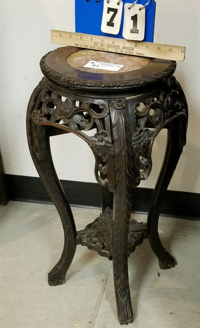 """19th c. CHINESE CARVED STAND W/ MARBLE TOP, 23.5""""H X"""