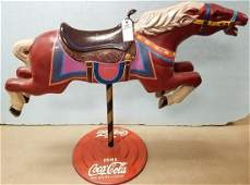 "VINTAGE CAST IRON HORSE COCA COLA DISPLAY, 39""H X 4'L"
