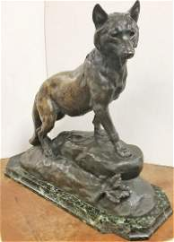BRONZE WOLF, SGND. J.E. MASSON W/ PARIS FOUNDRY MK,