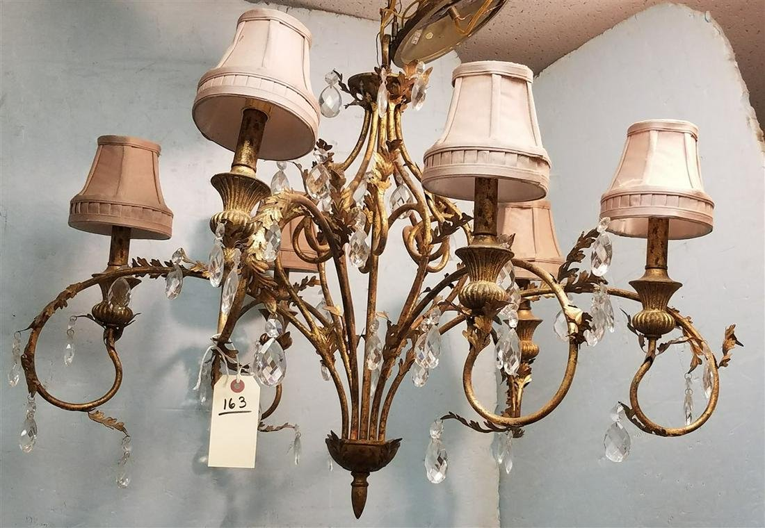 "GILT METAL 6 ARM CHANDELIER, 24""H X 36"" DIAM."