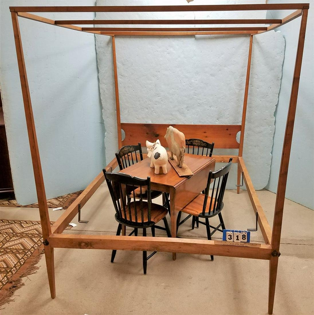 QUEEN SHAKER STYLE PINE CANOPY BED