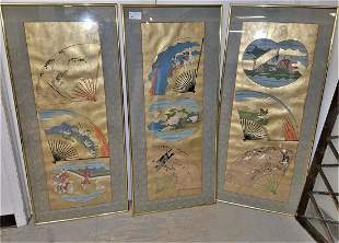 SET 3 ASIAN PAINTINGS ON PAPER 535 X 24