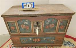 DATED 1877 PTD. CONTINENTAL 1 DRAWER BLANKET CHEST,