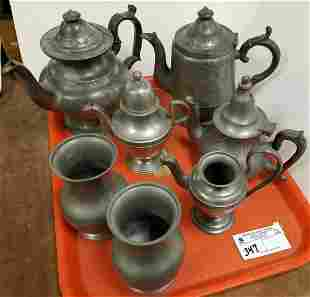 TRAY EARLY PEWTER TEA POTS SPILL VASES