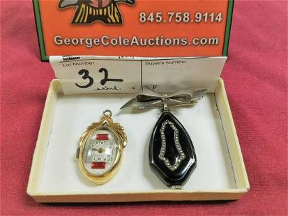 LOT 2 LADIES PENDANT WATCHES 1 STERL OTHER GF