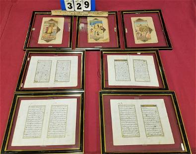 LOT OF 18th19th c 3 FRAMED INDO MINI PTGS 75 X