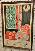 FRAMED H. MATISSE POSTER, NICE TRAVAIL JOIE, 1947,