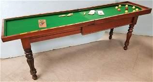 """ENGLISH c.1840 BAGATELLE TABLE, 35.5""""H X 47.75""""L X 24""""W"""