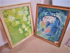 FRAMED 2 O/B ABSTRACTS SGND. MARY L. KELLY