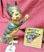 HUBLEY BOSTON TERRIER CAST IRON DOOR STOP W PAW UP