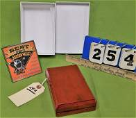 WOODEN BX'D SET OF 12 LEATHER BOUND MINIATURE BOOKS,