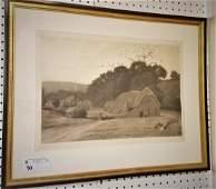 FRAMED 1901 ENGLISH ENGR. LANDSCAPE OF COTTAGE, PENCIL