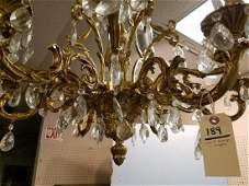 """CAST BRONZE AND CRYSTAL 12 ARM CHANDELIER 29""""H X 3'"""
