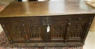 c.1550 FRENCH GOTHIC OAK COFFER, WITH LATER REPLACED