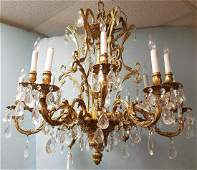 """CAST BRONZE AND CRYSTAL 12 ARM CHANDELIER, 29""""H X 3'"""