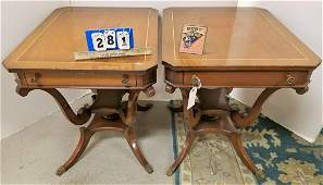"""PR. MAHOG. 1 DRAWER END STANDS W/ BAND INLAY, 27""""H X"""