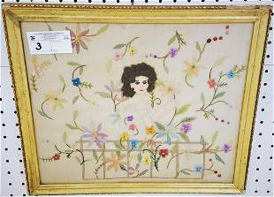 "FRAMED EMBROIDERY ON SILK, c.1910, 12.5"" X 15.5"""
