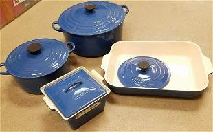 BX LE CREUSET- 2 ROUND COVERED CASSEROLES, 1 SQ. +