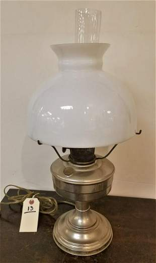 NICKEL PLATED OIL LAMP-ELEC.