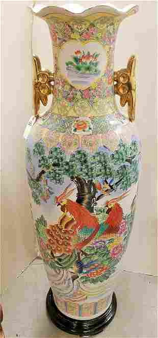 "55"" CHINESE PALACE VASE 20th c. ON WOODEN BASE 3.5""H"