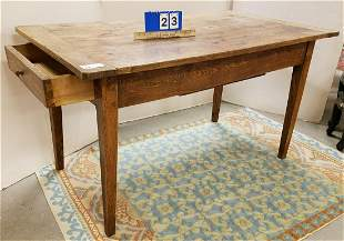 PRIM. ELM WOOD 1 DRAW KITCHEN WORK TABLE W/ SLIDING TOP