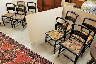 SET 8 EARLY 19th c. PILLOWBACK STENCILED CANE SEAT