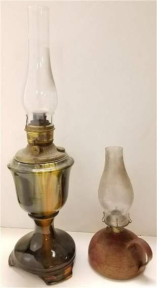 19th c. POTTERY BASE OIL LAMP W/ CONTEMP. POTTERY OIL