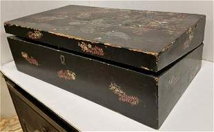 BX/ 19th c. CHINESE LACQUER-LAP DESK, JEWELRY BOX. EGG