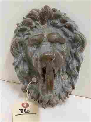 "CAST IRON LION HEAD HANGER, 8""H X 6""W"