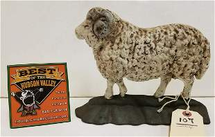 "VINTAGE CAST IRON SHEEP DOORSTOP, 7.25""H X 9.5""L"
