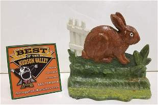 VINTAGE CAST IRON DOOR STOP, RABBIT BY FENCE, ALBANY