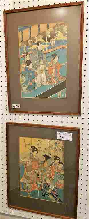 "PR. FRAMED JAPANESE WOOD BLOCK PRINTS, 13.25"" X 9.25"""