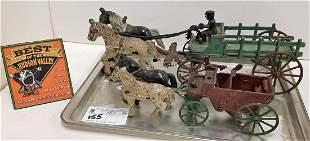 "TRAY/ 2 VINTAGE CAST IRON HORSE DRAWN WAGONS, 4.5""H X"