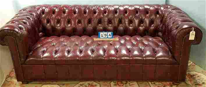 "BURGANDY LEATHER CHESTERFIELD SOFA, 6'9""L"