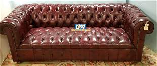 """BURGANDY LEATHER CHESTERFIELD SOFA, 6'9""""L"""
