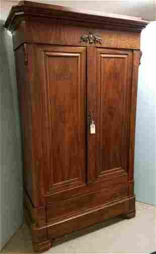 c.1860 VICT, ROSEWOOD 2 DOOR OVER 2 DRAWER ARMOIRE,